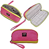 Makeup Bag/BUBM Double Layers Travel Cosmetic Pouch,Small Portable Toiletry Kit Organizer with Handle,Waterproof (Pink)