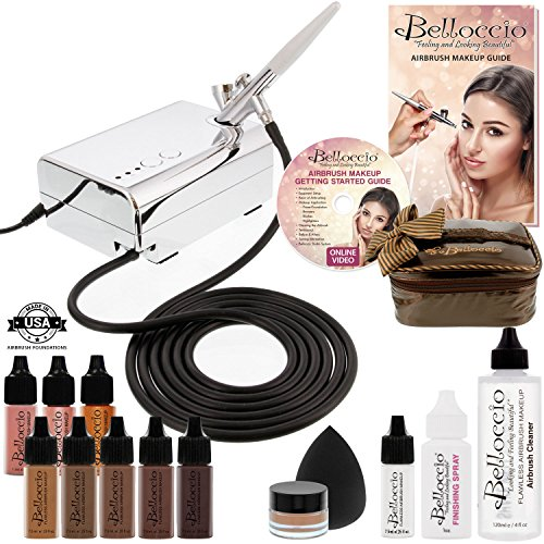 Belloccio Professional Beauty Airbrush Cosmetic Makeup System with 5 Dark Shades of Foundation in 1/4 oz Bottles – Kit includes Blush, Bronzer and Highlighter and 3 Free Bonus Items and a DVD