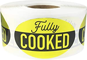 Fully Cooked Grocery Store Food Labels 1.25 x 2 Inch 500 Total Adhesive Stickers