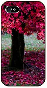 Red tree, leaves - iPhone 4 / 4s black plastic case / Flowers and Nature, floral, flower