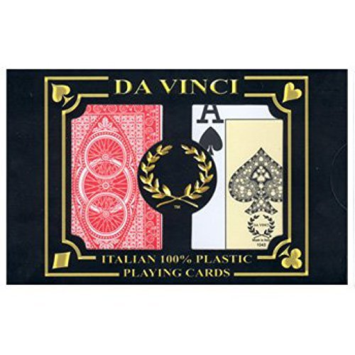 Bicycle Da Vinci - DA VINCI Ruote, Italian 100% Plastic Playing Cards, 2-Deck Poker Size Set, Jumbo Index with Hard Shell Case & 2 Cut Cards