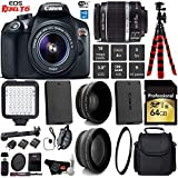 Canon EOS Rebel T6 DSLR Camera with 18-55mm is II Lens + LED + UV FLD CPL Filter Kit + Wide Angle & Telephoto Lens + Camera Case + Tripod + Card Reader - International Version