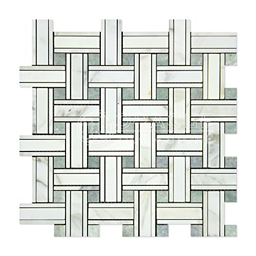 Calacatta Gold (Italian Calcutta) Marble Triple-Weave Mosaic Tile (with Ming Green Marble Dots, Polished)