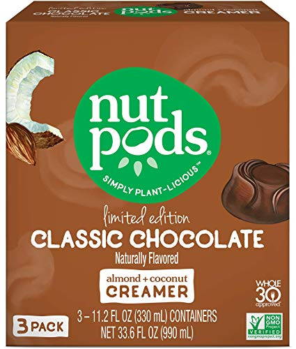 nutpods Classic Chocolate, Unsweetened Dairy-Free Liquid Coffee Creamer Made From Almond and Coconut (3-pack)