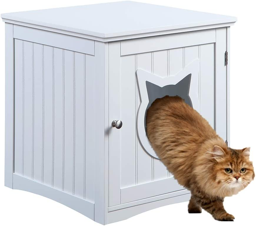 Cat House Side Table Nightstand Pet House Litter Box Furniture Indoor Pet Crate Litter Box End Table Litter Box Enclosure White Pet Supplies