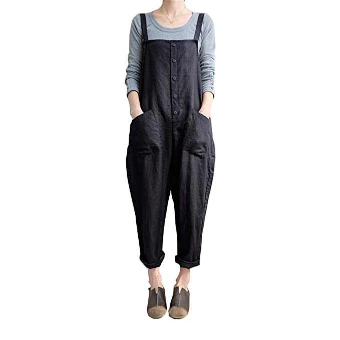 39bc52557166 Helisopus Womens Cotton Loose Casual Baggy Rompers Jumpsuits Overalls Harem  Wide Leg Dungarees Playsuit Trousers 2X