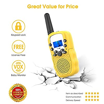 Kids Two-Way-Radios for 3-12 Year Old, Topsung T388 Kid Walkie-Talkies Girls Toddlers Far Ragne / PTT Walky-Talkies Voice Activated with 22 Channels for Family Travel Party Hiking (Yellow 2 Pack): Toys & Games