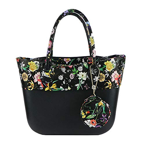 Jellyooy Beachkins Classic Obag EVA Handbag With Floral Print Handles Trim  Inner Bag And Coin Purse 8f497741eec