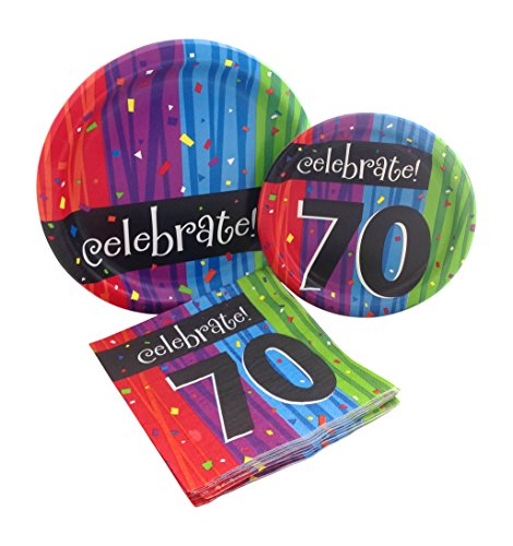 Celebrate 70 Happy Birthday Party Bundle with Paper Plates and Napkins for 8 Guests -