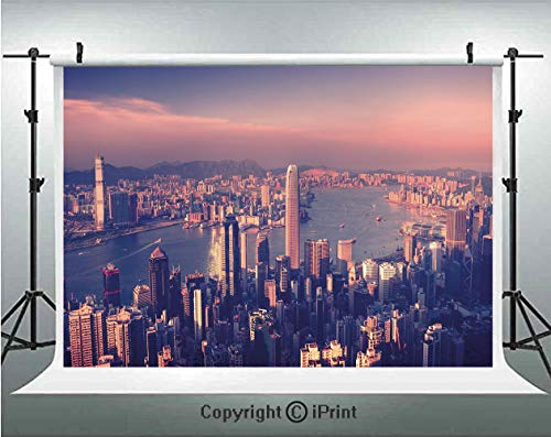 City Photography Backdrops Dreamy View of Chinese City Hong Kong Urban Scene Concept Victoria Harbor,Birthday Party Background Customized Microfiber Photo Studio Props,7x5ft,Pale Pink Night Blue ()