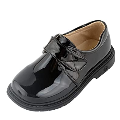 uirend Girls Mary Janes Shoes Uniform - Child Flat Low Heel Glitter Leather  Hook and Loop Ankle Strap Casual School Style Dancing Show Touch Fastening  Large ... b24bffb91d21