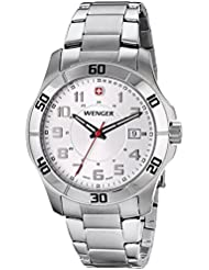 Wenger Mens 70489 Alpine White-Dial Stainless Steel Bracelet Watch