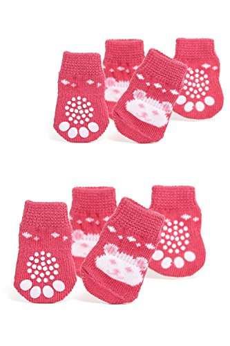 Nothing But Love Pets Toy/Small Dog Non Slip 2 Sock Packs (8 pcs) for Yorkie Pom Maltese Chihuahua (Very Small Size, Pink, White, Teddy Bear)