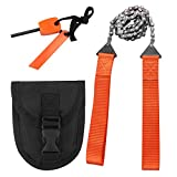 Survival Chainsaw Pocket Hand Saw 25-Inch Folding Survival Chain Saw with Strong Sharp Teeth for Camping Hiking Hunting Gardening and Outdoor Emergency Includes Fire Starter and Carry Pouch