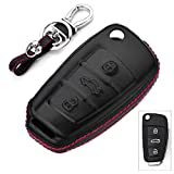 RoyalFox Genuine Leather 3 Buttons Key Fob case Cover for Audi Folding flip Key, Audi A1 A3 Q3 Q7 TT S3 R8 Car Remote Pouch with Key Rings Keychain Holder Metal Black