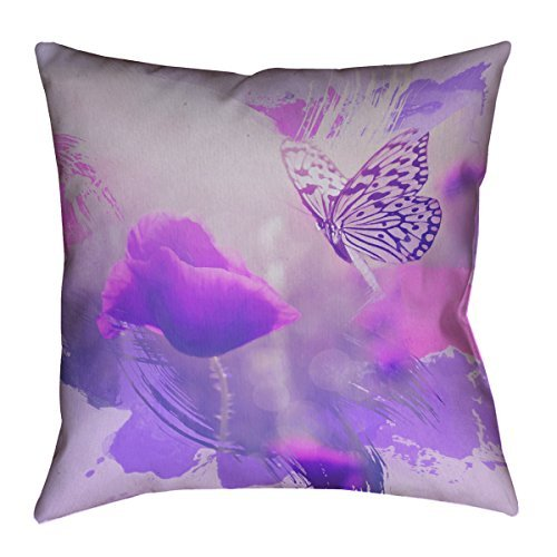 ArtVerse Justin Duane Watercolor Butterfly and Rose in Purple Cotton Twill Throw Pillow 16 x 16 [並行輸入品] B07Q5GGSKM