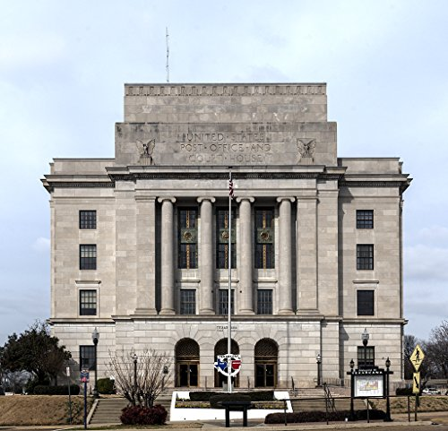 16 x 24 Art Canvas Wrapped Frame Giclee Print of The federal courthouse and post office Texarkana. Like the city this building is half Texas to the left this photo and half Arkansa 2014 Highsmith 22a