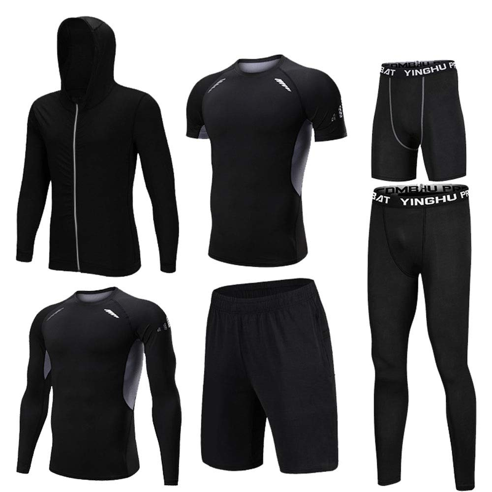Gym Wear Fitness Bekleidung Set Herren 6 Stück Athletic Compression Sport Laufsets mit Outwear, Compression Langarmhemd, Compression Enge Hose, Compression Kurzarm T-Shirt, Lose Shorts, Compression Ti