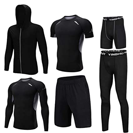 Sports & Entertainment Shirts Men Long Sleeves Tight Sweat Suit Fitness Uniform Running Basketball Fast Dry Compressed T-shirt Tight Sports Elastic Running