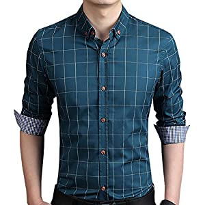AIYINO Mens Slim Fit Long Sleeve Plaid Printings Business Checked Shirt
