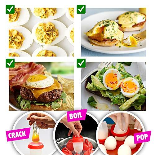 Egglettes Egg Cooker Hard & Soft Maker, Use Oil, Non Stick Silicone, Poacher, Boiled, Steamer AS SEEN ON TV, 6 pack by Deja Vu & Uk (Image #5)