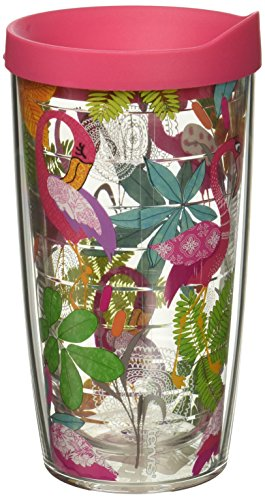 Tervis 1287077 Flamingo Fun Tumbler with Wrap and Fuchsia Lid 16oz, Clear