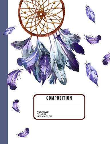 Composition Notebook Wide Ruled: Watercolor Dreamcatcher Boho