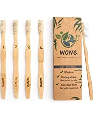 Wowe Natural Organic Bamboo Toothbrush Eco-Friendly Wood, Ergonomic, Soft BPA Free Bristles, Pack of 4