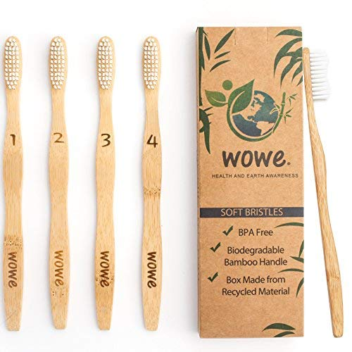 Wowe Natural Organic Bamboo Toothbrush Eco-Friendly Wood, Ergonomic, Soft BPA Free Bristles, Pack of 4 ()