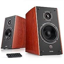 Edifier R2000DB Powered Bluetooth Bookshelf Speakers - Near-Field Studio Monitors - Optical Input - 120 Watts RMS - Cherry Wood Grain