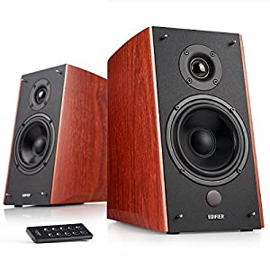Edifier R2000DB Powered Bluetooth Bookshelf Speakers - Near-Field Studio Monitors - Optical Input - 5 inch Subwoofer - 120 Watts RMS - Wood Grain