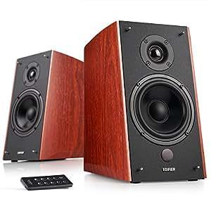 Edifier R2000DB Powered Bluetooth Bookshelf Speakers - Near-Field Studio Monitors - Optical Input - 5 inch Subwoofer - 120 Watts RMS - Wood Grain