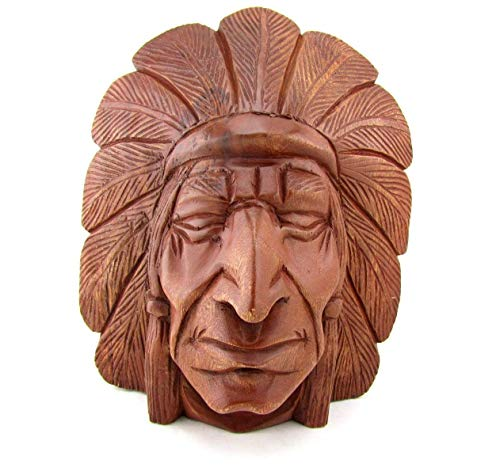 Blue Orchid Hand Carved Wooden Indian Head (Cherokee) -