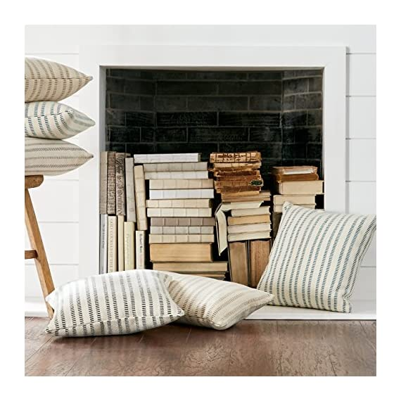 "Stone & Beam French Laundry Pillow, 17"" x 17"", Ivory, Black - This pillow features a timeless style with just the right mix of refined and casual touches. Rust-color stripes on an ivory background are yarn-dyed for lasting color, while the fabric's texture and weight gives it a substantial, durable feel. Traditional French Laundry style is refined yet relaxed Cover is cotton/polyeser/acrylic blend; stripes on front and back - living-room-soft-furnishings, living-room, decorative-pillows - 51onI%2BU8unL. SS570  -"