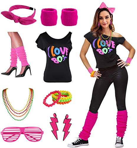 Womens I Love The 80's Disco 80s Costume Outfit Accessories (L/XL, 80s Hot ()