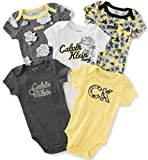 Calvin Klein Baby Girls' Assorted Short Sleeve Bodysuit, Yellow/Dark Gray, 3/6 Months (Pack of 5)