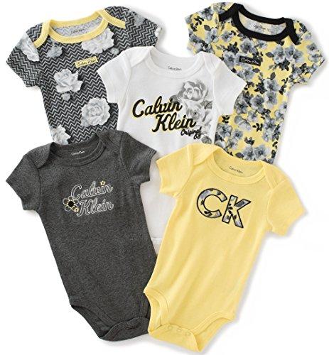 calvin-klein-baby-girls-assorted-short-sleeve-bodysuit-yellow-dark-gray-3-6-months-pack-of-5