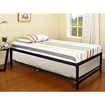 a8f02f55b99f6 Kings Brand Furniture Black Metal Twin Size Platform Daybed Frame with Trundle  Bed