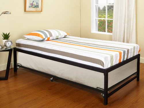 Black Metal Twin Size Day Bed Daybed Frame with Roll Out Trundle