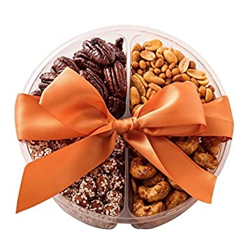 Freshly Roasted Gourmet Nuts Assortment Gift Tray, 4 Sectional,  Snack-on-the-go