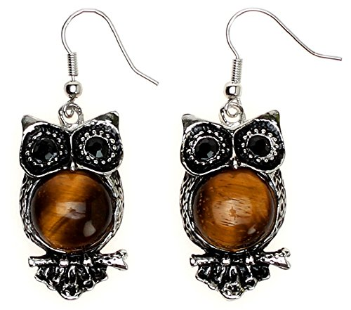 (Lova Jewelry Silver-tone Owls for Your Ears. (Tiger-Eye Stone))