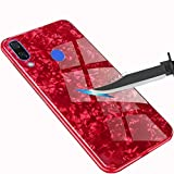 Huawei Nova 3 Case, Ranyi Premium Smooth Tempered Glass Marble Creative Design [Anti-Scratch Shock Absorbing] Full Body Protective Defender Slim Flexible Case for Huawei Nova 3 (2018), red