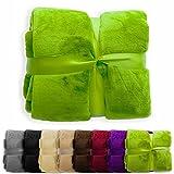 XXL Decke Glory   uni apfelgrün   super weiche Wohndecke / Kuscheldecke   2 Größen und 8 Farben verfügbar   150x200cm