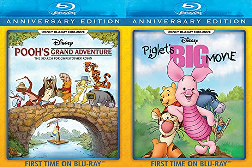 Journey to Hundred Acre Wood Disney Movie Exclusives: Pooh's Grand Adventure: The Search For Christopher Robin Anniversary Edition + Piglet's Big Movie Anniversary Edition Blu-Ray Bundle