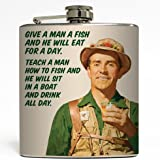 Teach A Man To Fish - Liquid Courage Flasks - 6 oz. Stainless Steel Flask