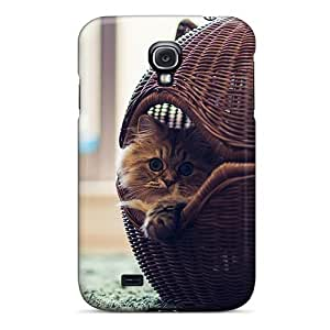 Galaxy S4 Hard Back With Bumper Silicone Gel PC Case Cover Cat In The Basket