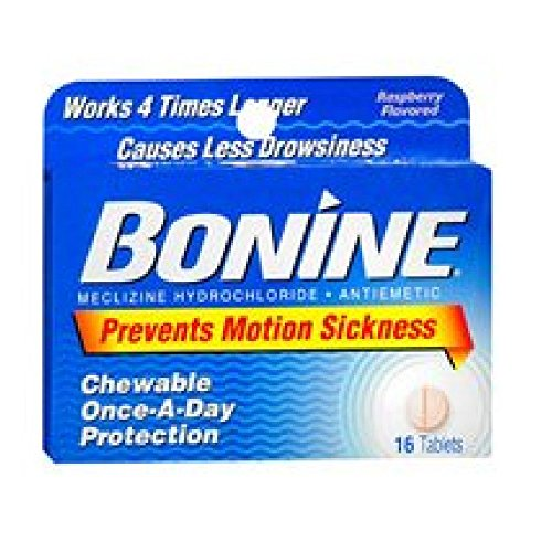 Bonine For Motion Sickness Chewable Tablets, Raspberry Flavored, 16 Tablets (3 Pack)