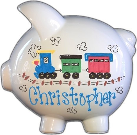 Hand Painted Personalized Large Piggy Bank - Train Design by The Spoiled Sprout