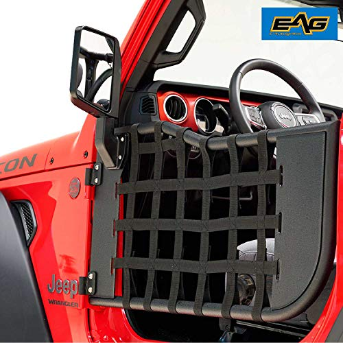 EAG Matrix Tubular Door Black with Side View Mirror Fit for 18-19 Jeep Wrangler JL 2 ()