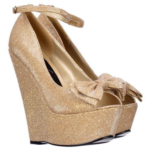 Oro Argento Scuro Oro Donne Caviglia Toe Alla Wedge Glitter Nude Platform Cinturino Viola Peep Signore Bow Delle Onlineshoe Scarpe OqU6g1